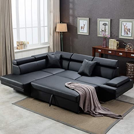 pick up 2df76 cc672 FDW Sofa Sectional Futon Sofa Bed Living Room Sofas Couches and Sofas  Corner Sofa Set Sleeper Sofa Faux Leather Queen 2 Piece Modern  Contemporary, ...