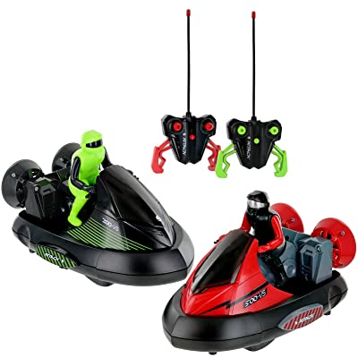 Click n' Play Set of 2 Stunt Remote Control RC Battle Bumper Cars with Drivers: Toys & Games