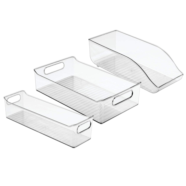 Set of 3 Clear MetroDecor 0351MDK mDesign Fridge Pantry Cabinet Bins /& Can Organizer