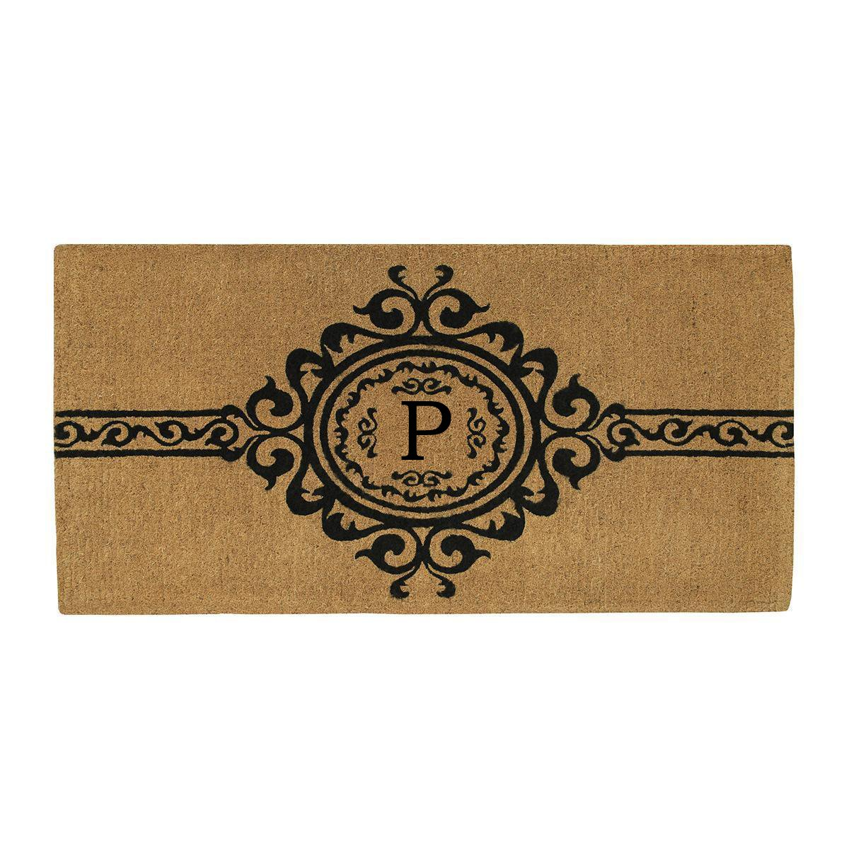 Home & More 180073672P Garbo Extra-thick Doormat, 36'' x 72'' x 1.50'', Monogrammed Letter P, Natural/Black by Home & More