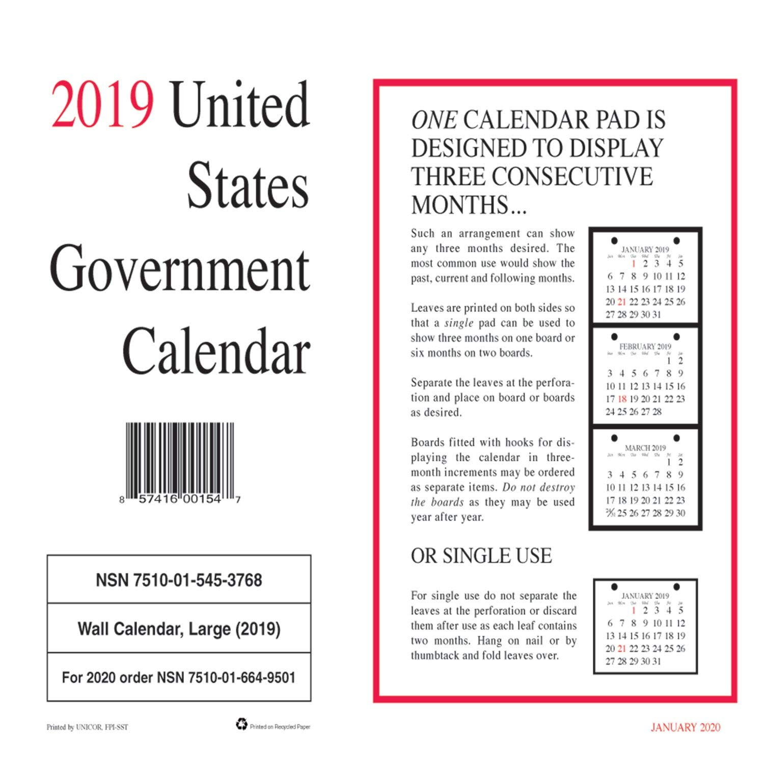 amazoncom 2019 unicor us government wall calendar single calender not pack of 10 office products