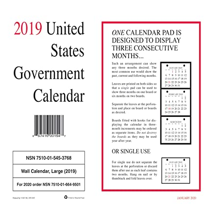 2019 United States Calendar Amazon.: 2019 Unicor US Government Wall Calendar, Single