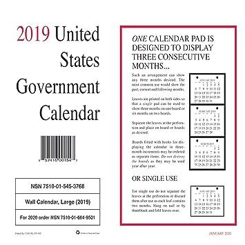 2019 Us Government Calendar Amazon.: 2019 Unicor US Government Wall Calendar, Single