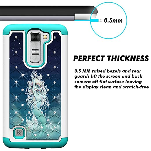 amazoncom lg tribute 5 case lg k7 case magicsky shock absorption studded rhinestone bling hybrid dual layer armor protective case cover for lg tribute