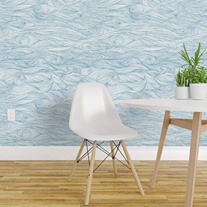 Spoonflower Pre Pasted Removable Wallpaper Abstract Blue