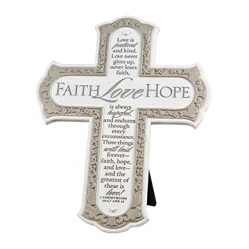 Lighthouse Christian Products Faith Hope Love Cream Filigree 11 Inch Cast Stone Cross Figurine