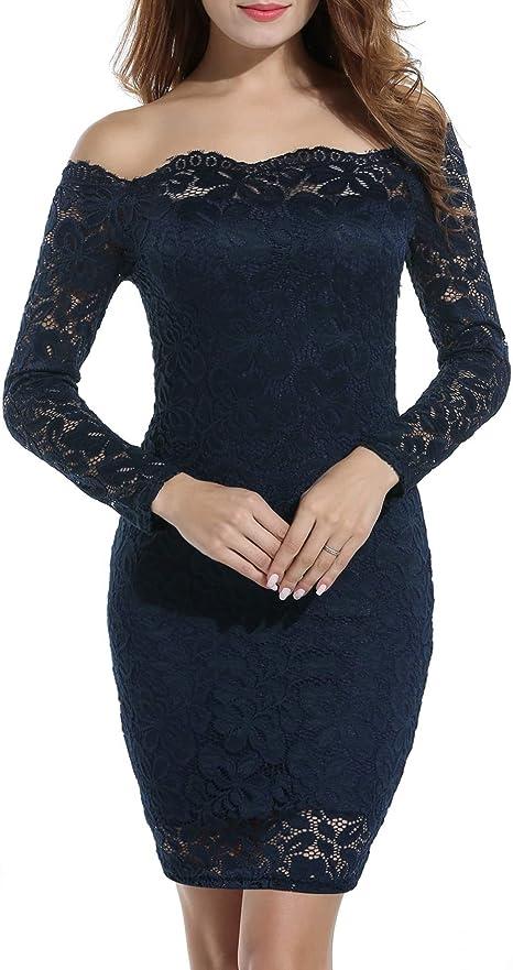TALLA EU 44-46(talla productor L). Acevog Vestido Cocktail para mujer Azul Oscuro EU 44-46(talla productor L)