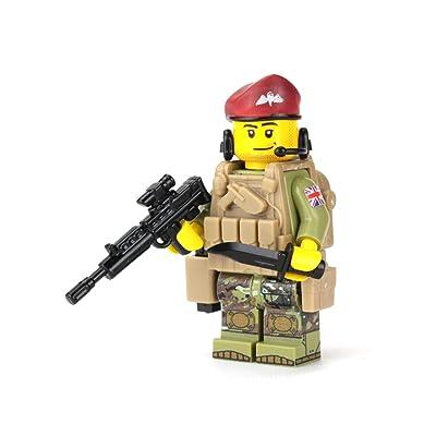 Battle Brick British Modern Paratrooper with Camo Custom Minifigure: Toys & Games