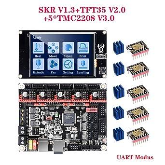 SKR V1.3+TMC2130 SPI PoPprint SKR V1.3 32-Bit-ARM-Controller-Board mit Open Source-Firmware Marlin2.0 und Smoothieware Verwenden Sie die Technologie der Goldabscheidungstechnologie f/ür 3D-Drucker.