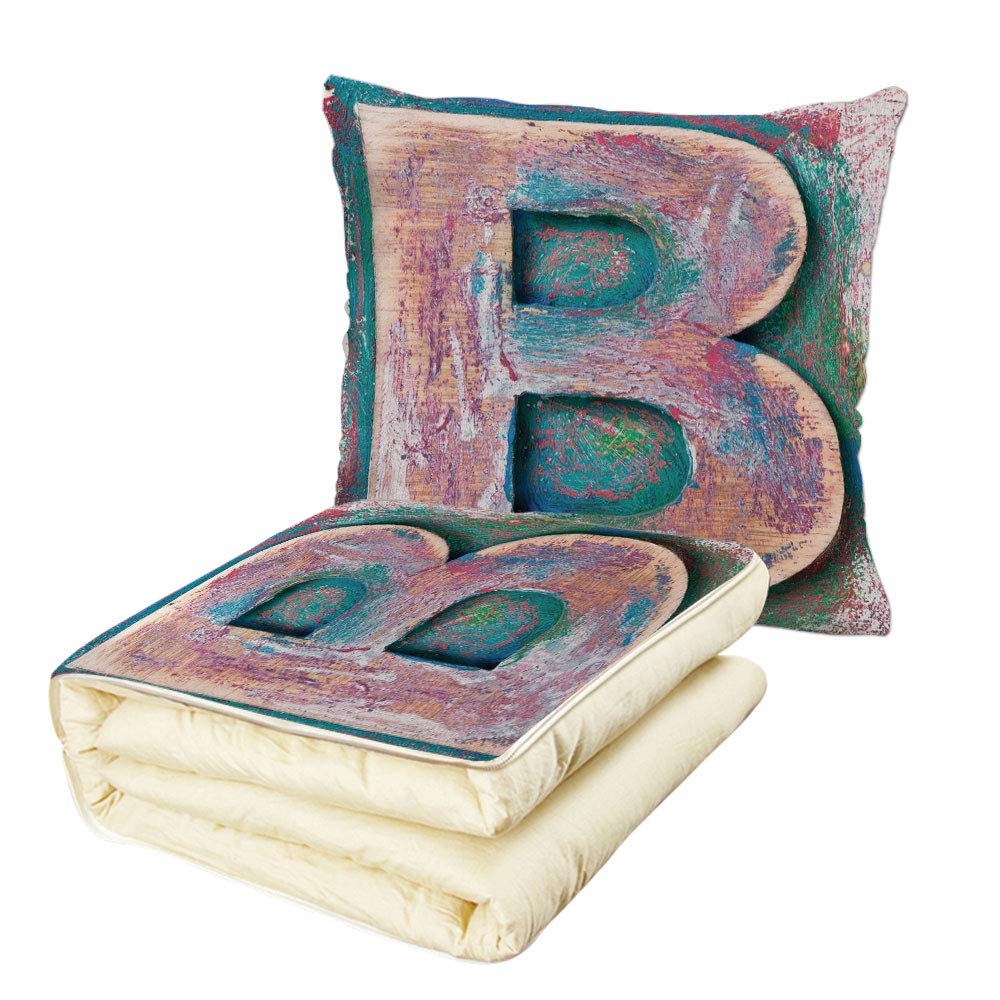 iPrint Quilt Dual-Use Pillow Letter B Old Fashioned Print Method Wood Block Alphabet ABC Type Worn Capital B Decorative Multifunctional Air-Conditioning Quilt Teal Ivory Dark Coral