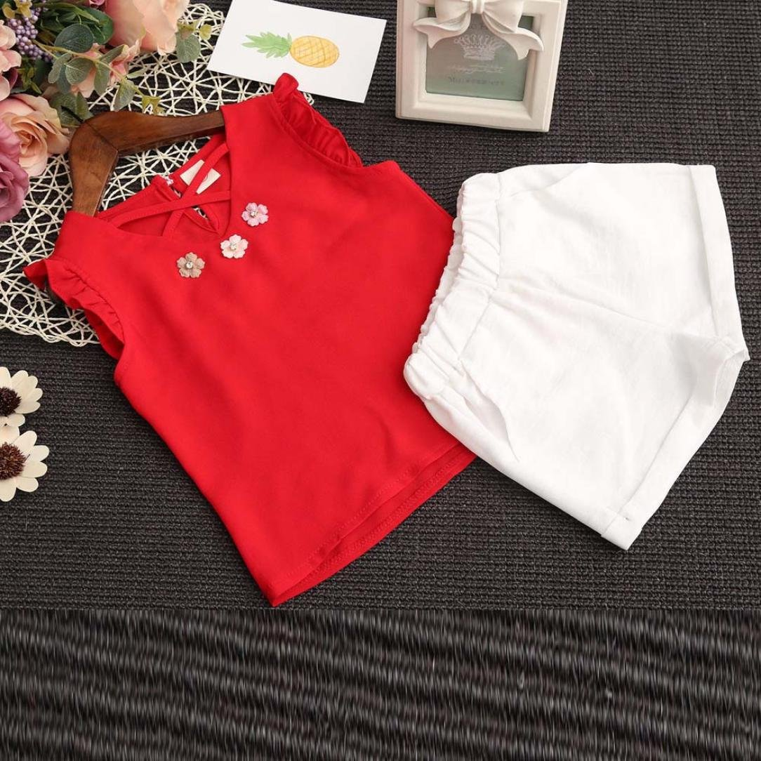 Fineser 2PCS Little Girl Shorts Set Flower Embroidered Sleeveless T-Shirt Tops+Shorts Outfits Clothes