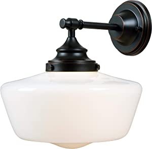 Kenroy Home Kenroy 93659ORB Restoration One Light Wall Sconce from Cambridge Collection Dark Finish, Blackened Oil Rubbed Bronze