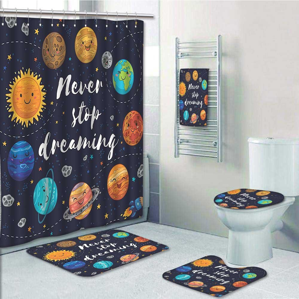 aolankaili 5-Piece Bathroom Set-Includes Shower Curtain Liner, Planets and Star Cluster Solar System and Comets Sun Cosmos Print Bathroom Rugs Shower Curtain/Bath Towls Sets(Medium Size)