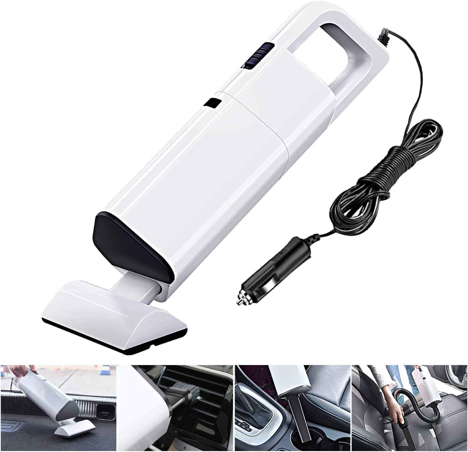 Car Vacuum Cleaner, Corded Car Vacuum, DC 12V 120W Car Vacuum High Powered 4000PA Suction, Portable Light-Weight Handheld Automotive Wet Dry Car Vacuum with 360° Cyclonic Design 5M(16.4FT) Power Cord
