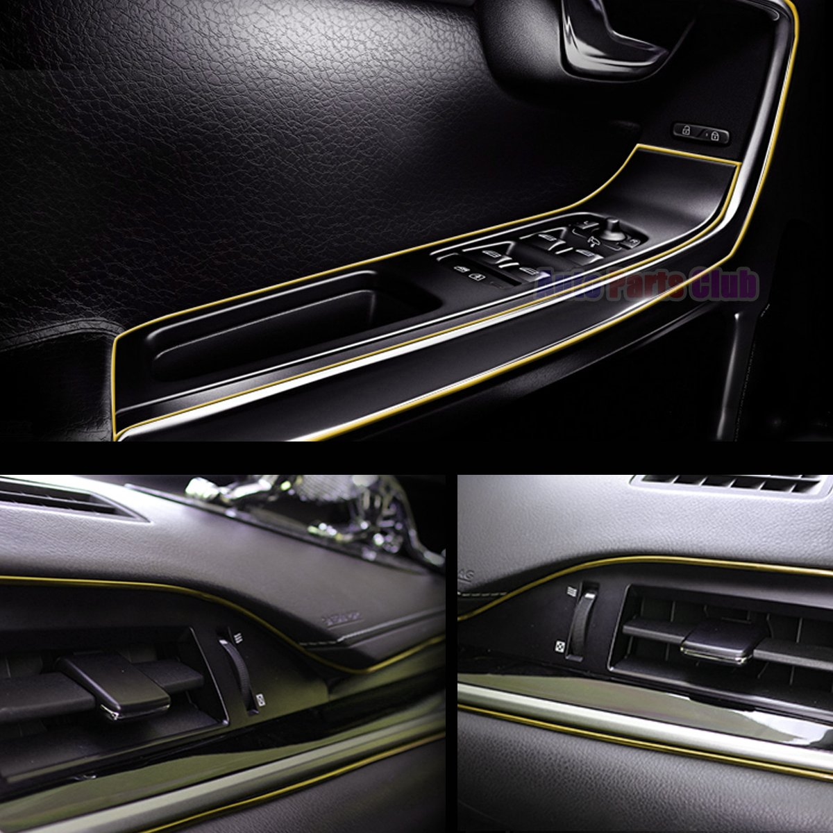 gold Car Interior Moulding Trim,3D DIY 5 Meters Electroplating Color Film Car Interior Exterior Decoration Moulding Trim Strip line by Auto Parts Club