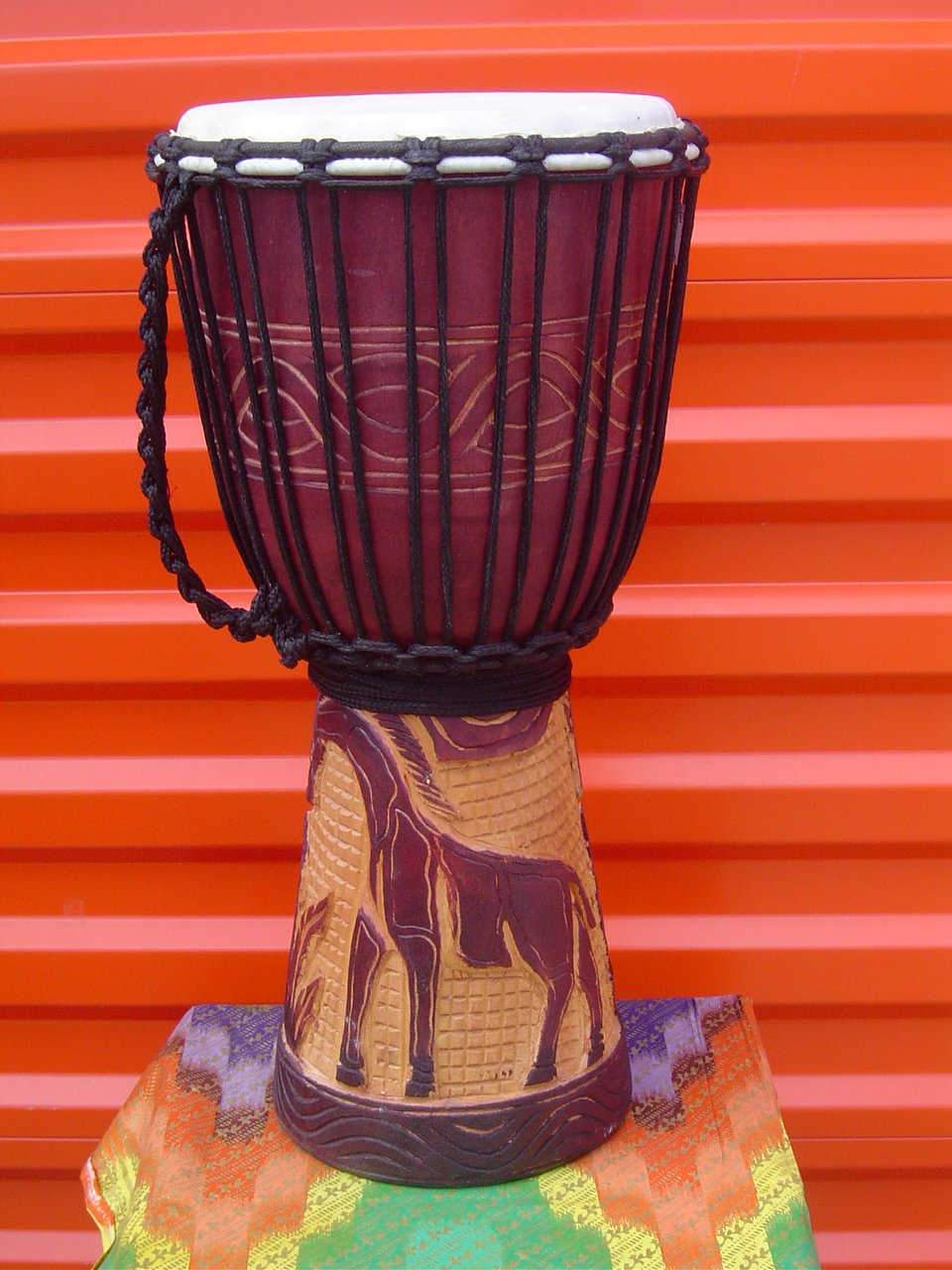 20'' X 10-11'' Deep Carved Djembe Bongo Drum GIRAFFES with Free Cover, Model # 50M20