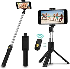 Selfie Stick, 3 in 1 Extendable Selfie Stick Tripod with Detachable Bluetooth Wireless Remote Phone Holder for iPhone Xs/iPhone 8/iPhone 7/7 Plus, Galaxy S10/S9 Plus/S8/Note8, LG, Google, More