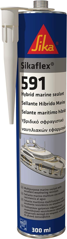 Sikaflex 591, Blanco, Sellador multipropósito para aplicaciones marinas, Sellado de juntas elástico, interior y exterior, 300 ml (sólo para profesionales)