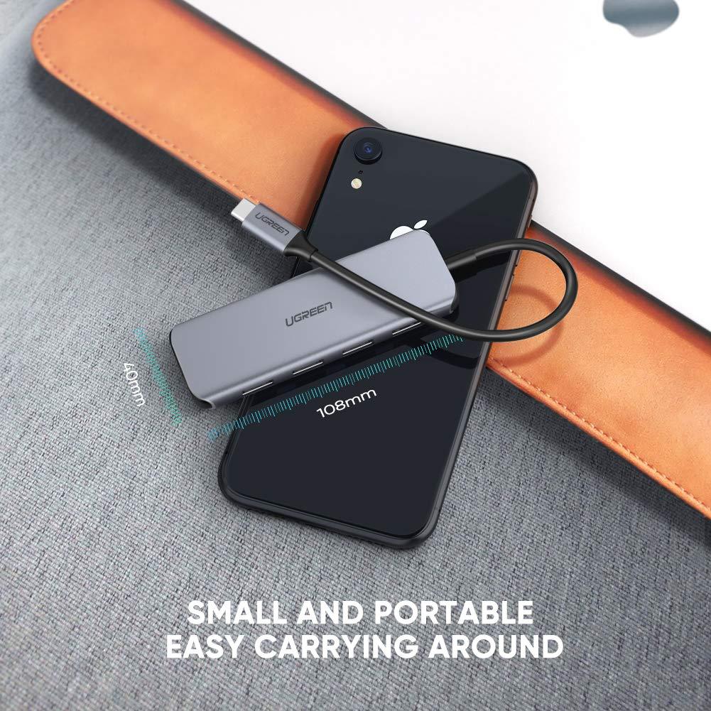 Huawei P30 Mate 20 UGREEN USB C Hub 4 Puertos USB 3.0 5Gbps Hub Huawei MateBook DELL XPS 15//13 Samsung S10 OTG Adaptador Tipo C 3.1 con Power Delivery 60W PD Carga para MacBook Pro 2016//2017