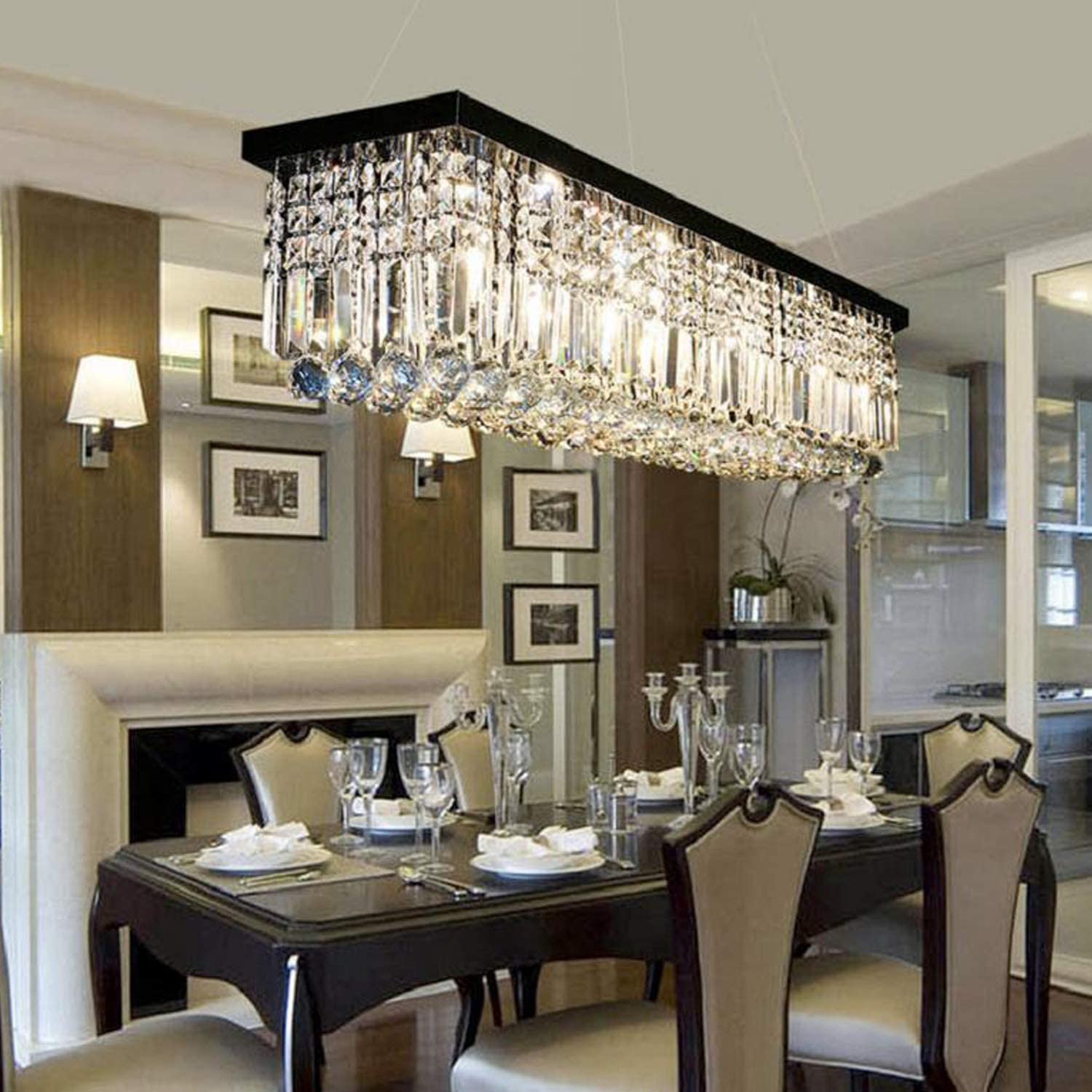 Moooni Modern Rectangular Raindrop Crystal Chandelier Lighting Rectangle Pendant Light Fixture for Dining Rooms Island Black L39.5 X W10 X H10