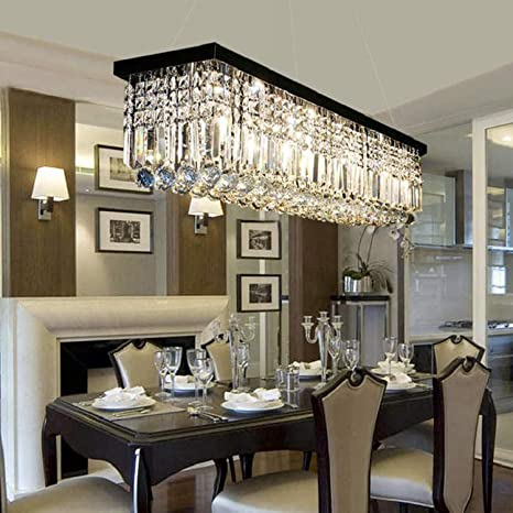 Moooni Modern Rectangular Raindrop Crystal Chandelier Lighting Rectangle Pendant Light Fixture For Dining Rooms Island Black L39 5 X W10 X H10
