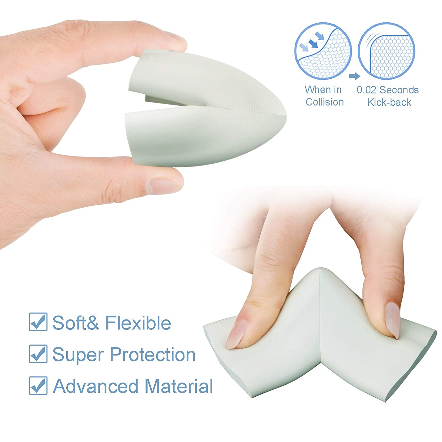 White, 10 Pack Mixoo Table Corner Protectors for Baby Super Soft Child Proofing Corner Guards Protectors for Furniture Against Sharp Edge Corners
