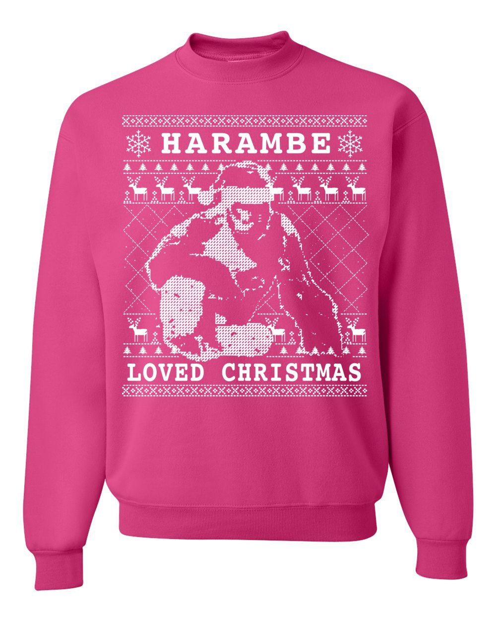 harambe loved christmas ugly christmas sweater unisex crewneck sweatshirt at amazon mens clothing store jpg 1000x1250