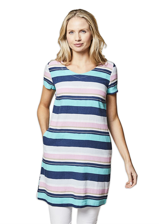 7ad4b8669bcdfd Lily & Me Stripe Linen Shift Dress - Navy/Mint - UK 12: Amazon.co.uk:  Clothing