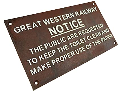 Rusty Brown Cast Iron GREAT WESTERN RAILWAY NOTICE Train Sign Plaque YNOTIRB