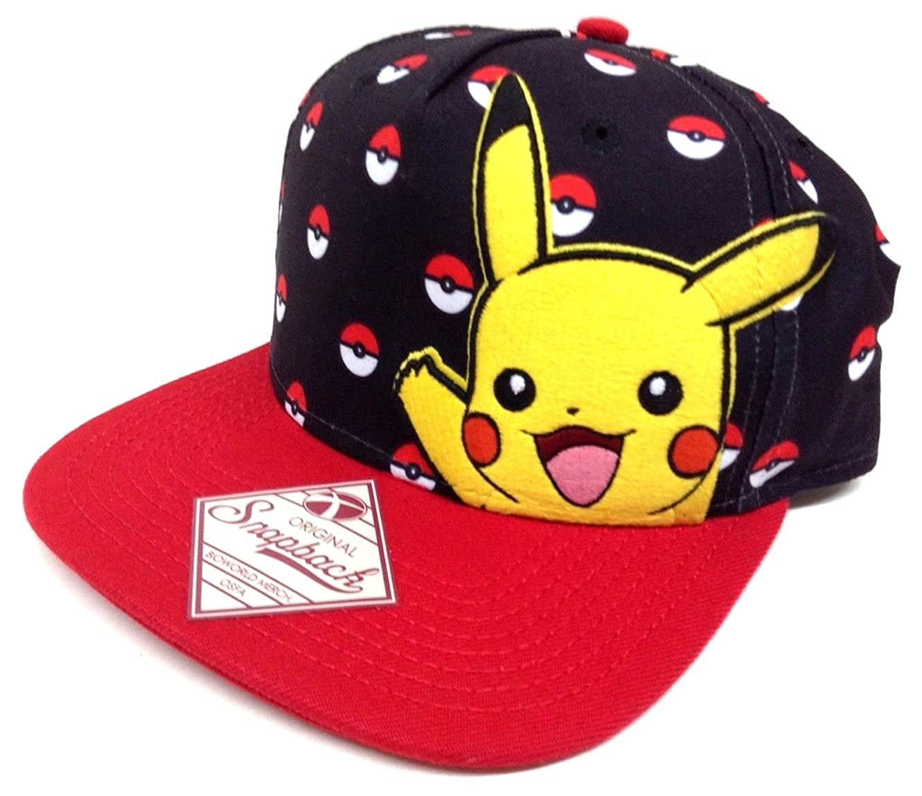 417efa98f Amazon.com: Pokemon Black & Red Pikachu Pokeball Snapback: Clothing
