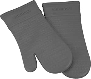Cuisinart Silicone Oven Mitts, 2pk - Heat Resistant Silicone Oven Gloves to Safely Handle Hot Cookware Items - Flexible, Waterproof Silicone Gloves with Non-Slip Grip and Insulated Pockets - Grey