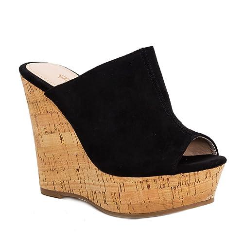 Scarpe donna sandali zeppe zatteroni scamosciati sughero tacchi alti JH2020