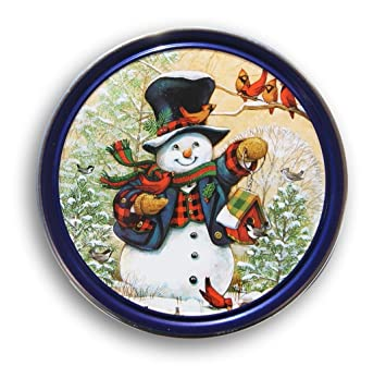 Christmas Holiday Butter Cookies Tin Old Fashioned Snowman