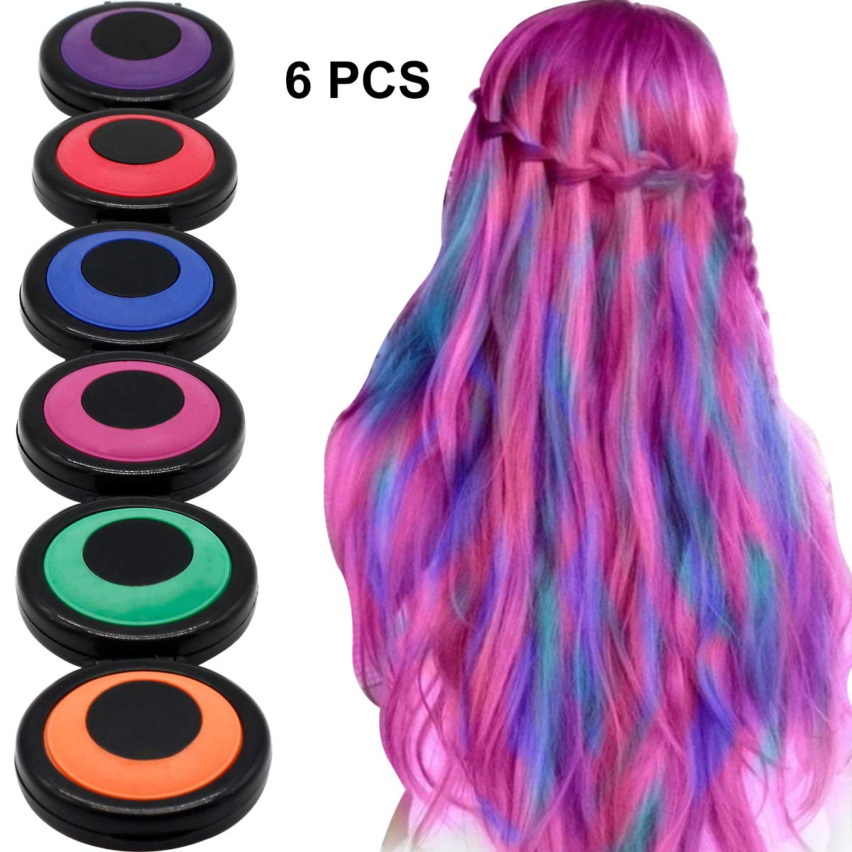 HAIR CHALKS SET: 6 Colors Temporary Hair Coloring Chalk - Hair Dye Colorful Sticks - Great For Dress Up Performance Costumes Halloween Christmas Party BUOCEANS Official