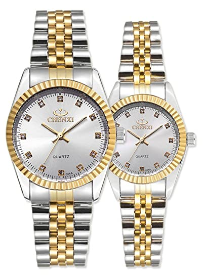 Amazon.com: Swiss Brand Two Tone Watch Men Women Gold Silver Stainless Steel Waterproof Couple Watches Gift of 2 (White): Watches
