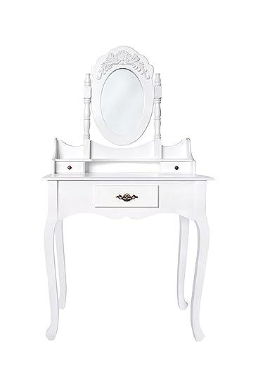 rebecca srl tavolo trucco pettiniera specchiera toeletta 3 ... - Toilette Provenzale Con Specchio E Sgabello