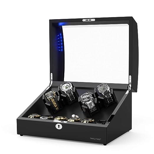 Caja Relojes Automáticos para 10 Relojes, con Motor Silencioso Japonés, Iluminación LED Incorporada, Almohadillas Suaves y Ajustables: Amazon.es: Relojes