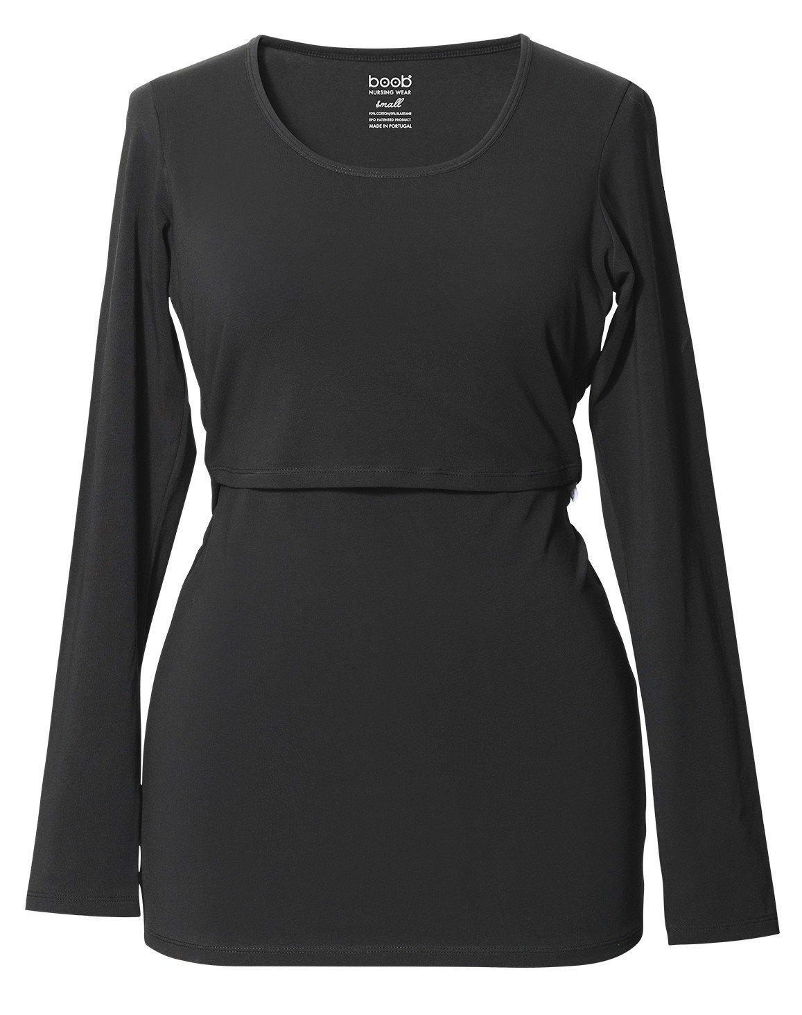 Boob Organic Cotton Round Neck Long Sleeve Nursing Top - Black - Large by Boob Design