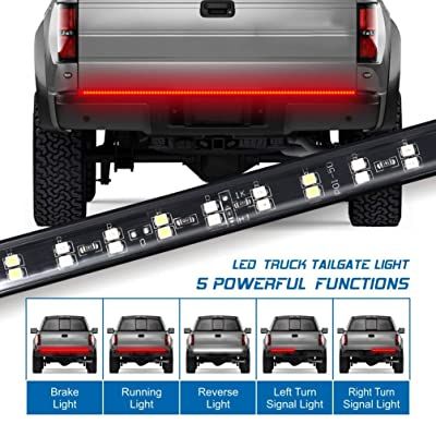 Fuguang 60'' 2-Row Truck Tailgate Light Bar 5-Function Flexible Strip Lights 216Leds High Brightenss White/Red Rear Under Tailgate Led Light Bar for F150 Dodge GMC: Automotive