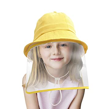 Baby Girls Solid Colour Decorative Ears Anti-Fog Anti-Saliva Protective Hat with Face Shield