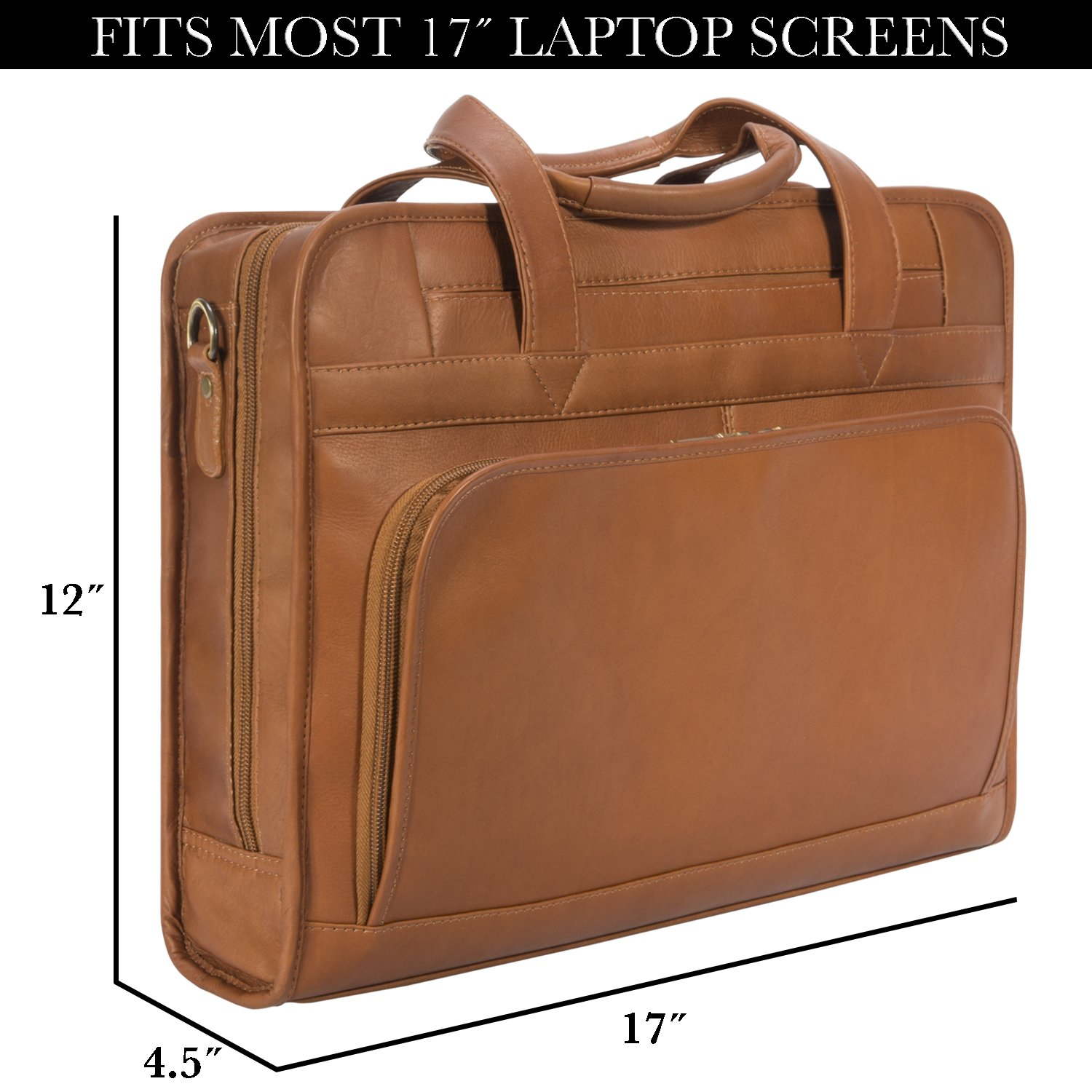 Muiska Leather Top-Zip 17 Inch Laptop Briefcase, Saddle, One Size by Muiska (Image #2)