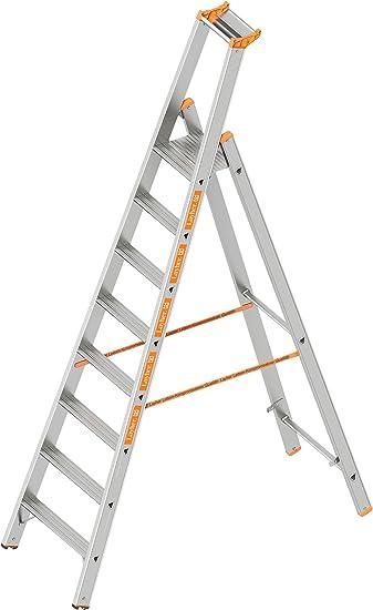Layher 1064008 HYMER – Escalera de tijera (Topic con 8 Amplia peldaños, aluminio escalera plegable con porche, longitud 2.70 m: Amazon.es: Bricolaje y herramientas