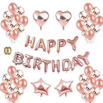 Rose Gold Happy Birthday Balloons Kit Decorations Balloon Letters Banner 12quotLatex