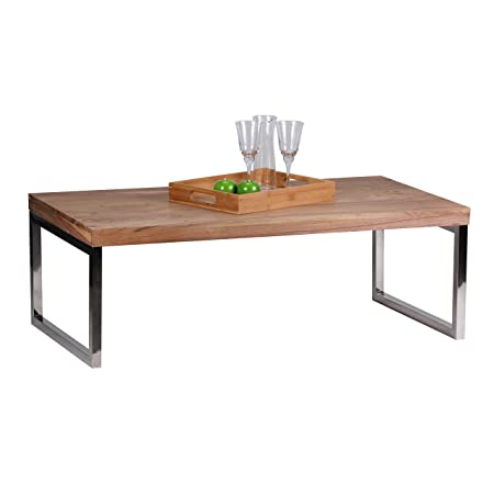 Wohnling Coffee Table U2013 Solid Acacia Wood 120 Cm Wide U2013 Dark/Brown Country  Style