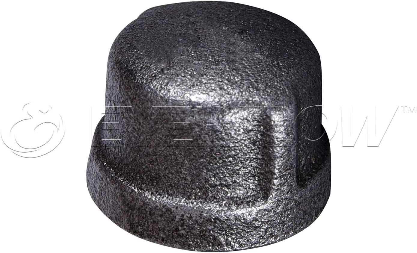 Threaded Fitting 150 LB ApplicationBlack Pipe Caps  1 Pack Of 10 Everflow BMCP0100-10 Malleable Iron Pipe Cap