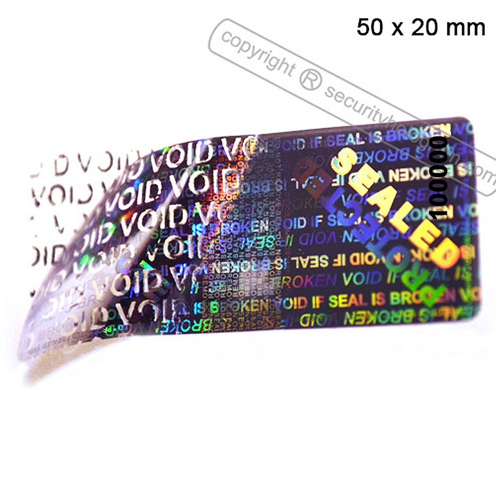 60 3D Stickers Protective Security Holograms ''Seal and Protect'' VOIDABLE!! Tamper Evident With DOUBLE SERIAL NUMBERS 2'' x 0.79'' (50 x 20 mm) by Security Hologram® (Image #9)