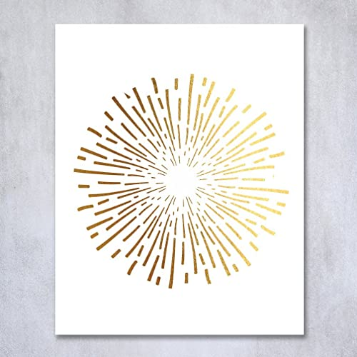 Burst Gold Foil Art Print Abstract Circle Fireworks Concentric Lines Sun  Starburst Poster Contemporary Geometric Wall