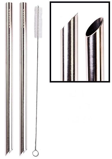 2 pajitas de acero inoxidable extra anchas de 1/2 x 9.5 ...