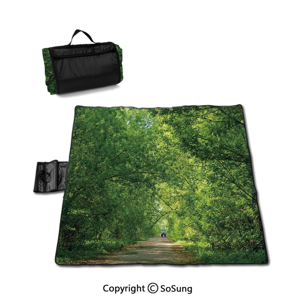 Landscape Picnic Blanket with Tote,Fresh Forest Canopy Trees over Footpath in an Old Park People Walking Natural Scenery Sandproof & Waterproof Picnic Mat Tote for Camping Hiking Grass Travelling,Gree by SoSung