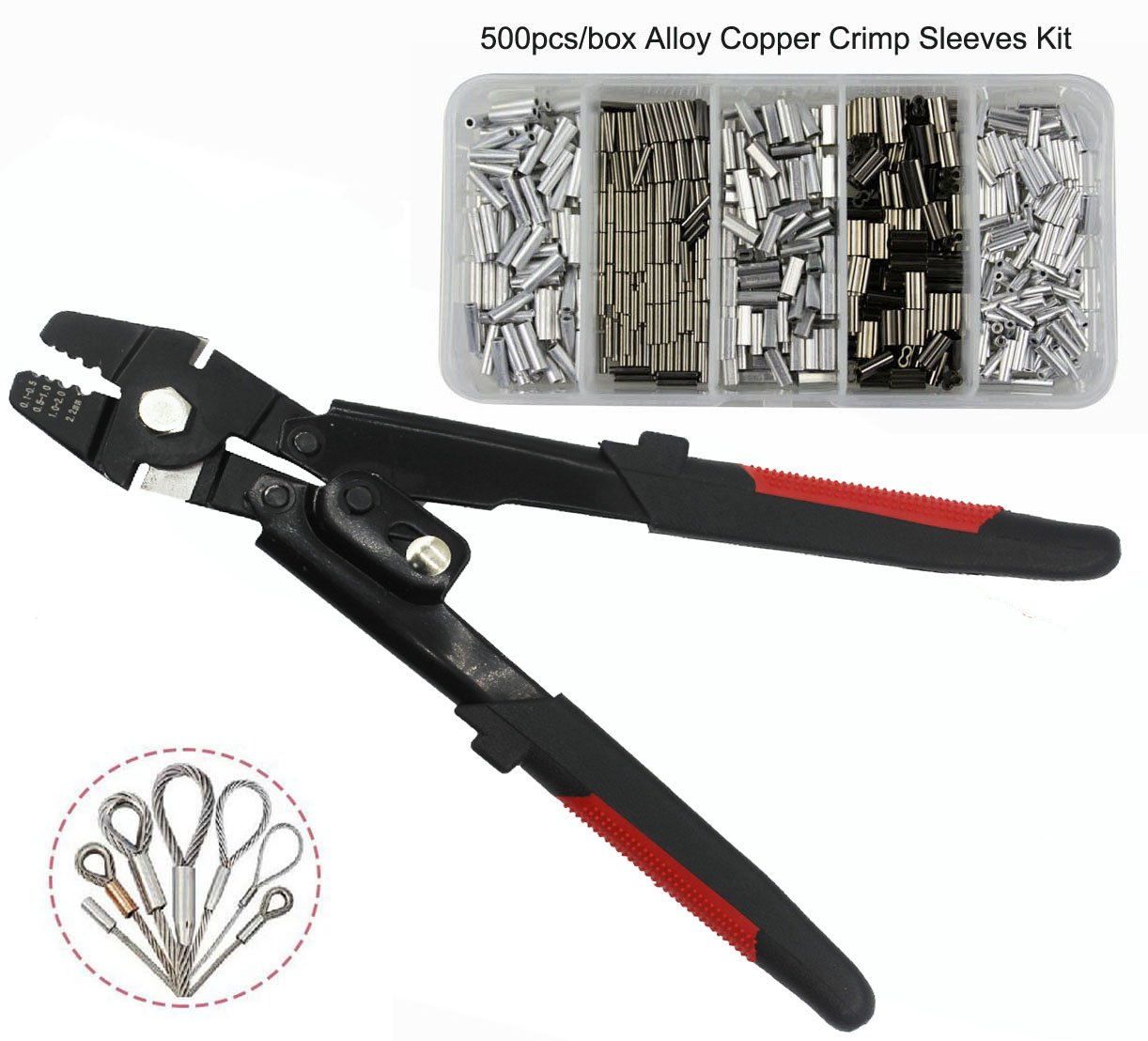 JSHANMEI Wire Rope Swager Crimpers Fishing Crimping Tool for Copper Fishing Line Crimp Sleeves Swivels Snaps Up To 2.2mm Premium Rigging Kit (High-carbon Steel Crimper Kit)
